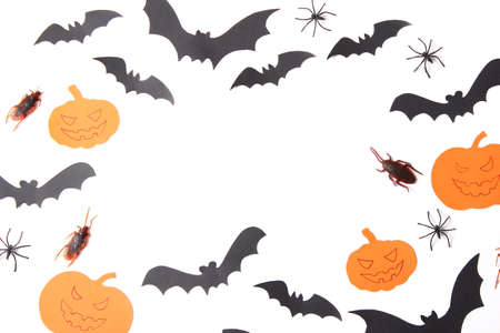 Halloween holiday background top view. Place for text