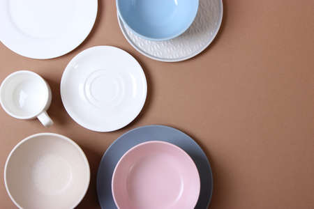 Set of dishes and kitchen utensils top view. Stock Photo