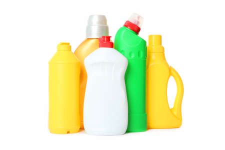 Set of tools for cleaning and disinfection isolated on white.