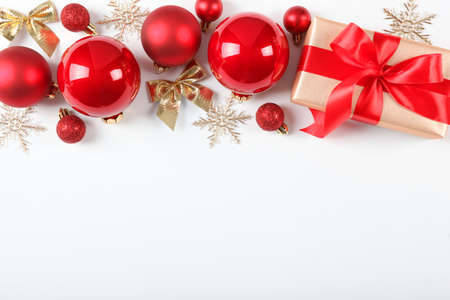 Christmas or New Year accessories top view. Foto de archivo