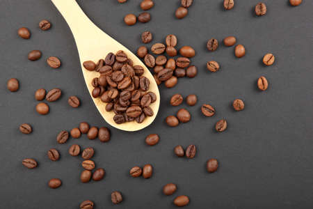 coffee beans on a colored background. Place to insert text, minimalism