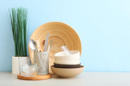 a set of tableware on the table. Reklamní fotografie