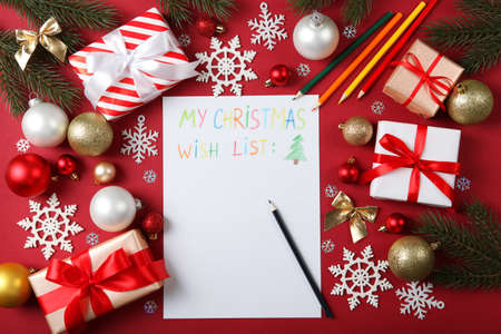 wish list for christmas and new year and christmas decor top view Archivio Fotografico