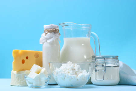 set of dairy products on the table. Banque d'images