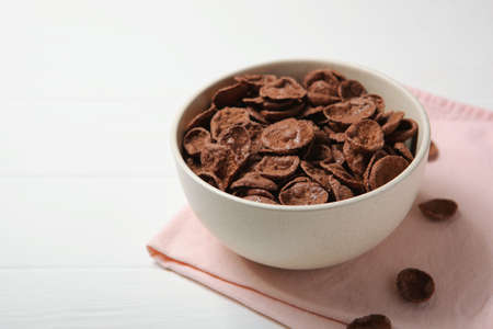 chocolate cornflakes for breakfast on the table close-up