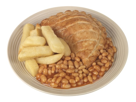 pasty: Cornish Pasty with Chips and Baked Beans Stock Photo
