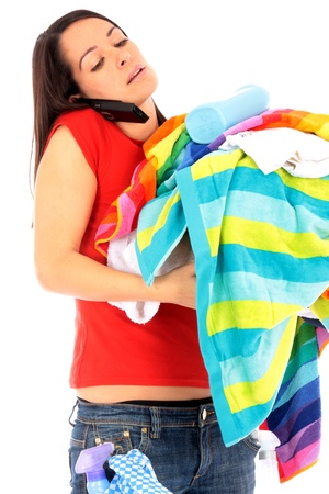 Young Woman with Pile of Washing