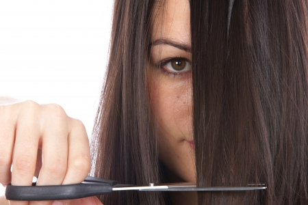 Young Woman Cutting Hair Stock Photo - 15502069