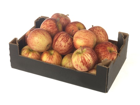 carboard box: Box of Gala Apples Stock Photo