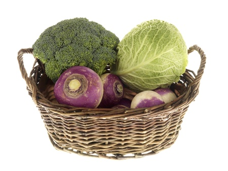 mixed vegetables: Basket of Vegetables Stock Photo