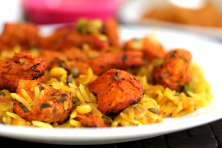 chicken rice: Chicken Tikka Biryani