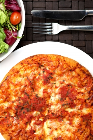 Cheese and Tomato Pizza with Salad Stock Photo - 15578287