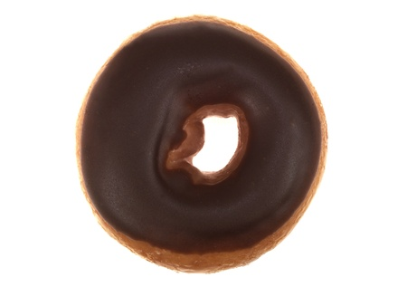 Chocolate Iced Ring Doughnut Stock Photo
