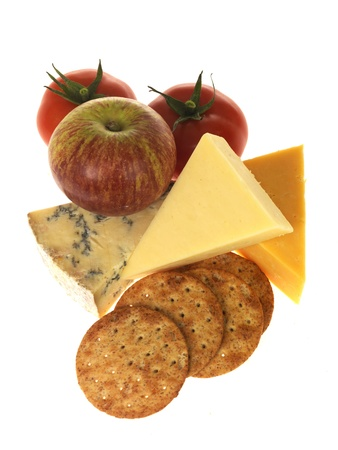 Cheese and Biscuits with Fruit Stock Photo - 15615124