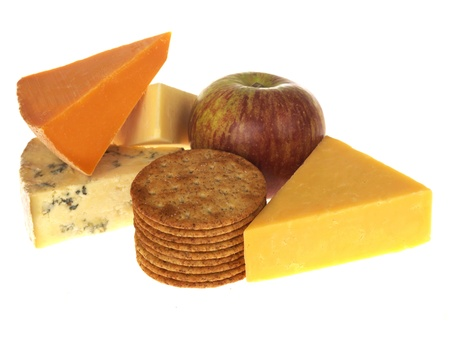 Cheese and Biscuits with Fruit Stock Photo - 15615138