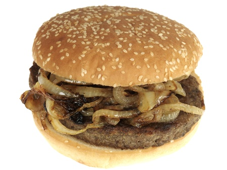 beefburger: Beefburger with Onions Stock Photo