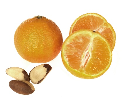 clementines: Clementines and Brazil Nuts Stock Photo