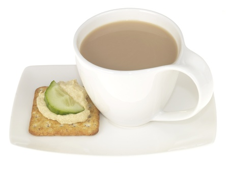 Tea with Houmous on Cracker photo