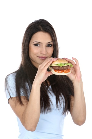 Model Released  Woman Eating Homemade Beefburger