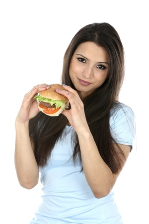 beefburger: Model Released  Woman Eating Homemade Beefburger