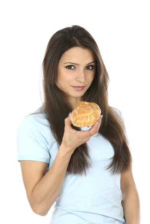 pasty: Model Released  Woman Eating Cornish Pasty