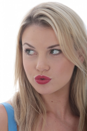 puckered lips: Model Released. Attractive Young Woman Pursed Lips