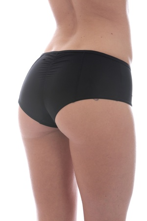 knickers: Model Released. Attractive Young Woman Wearing Sexy Black Panties
