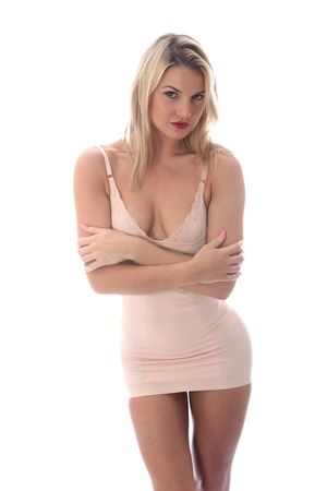 fedup: Model Released. Miserable Young Woman Short Tight Mini Dress Stock Photo