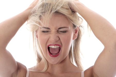 model released: Model Released. Frustrated Young Woman Stock Photo