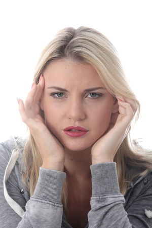 Model Released. Attractive Young Woman With a Headache