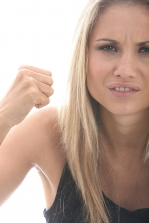 Model Released. Angry Tense Young Woman