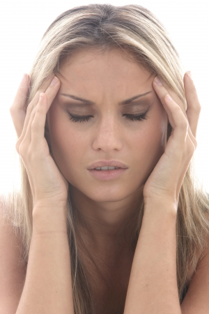 Model Released. Young Woman with a Headache Stock Photo