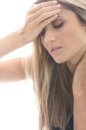 tense: Model Released. Young Woman with a Headache Stock Photo