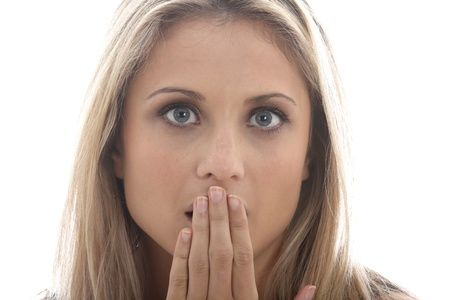 Model Released. Shocked Surprised Young Woman Stock Photo