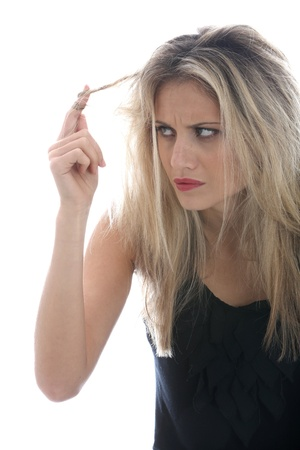 Model Released. Young Woman Bad Hair Day Stock Photo