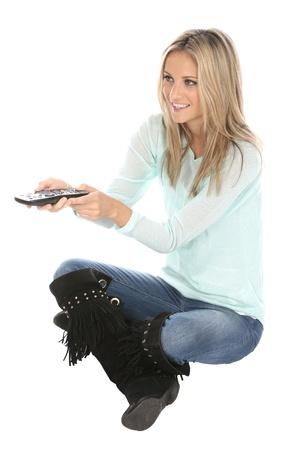 control box: Woman Holding TV Remote Control Box