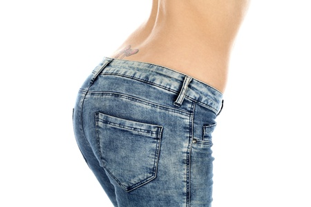 butt tight jeans: Woman Wearing Tight Jeans Stock Photo