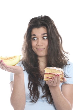 Young Woman Holding Melon and Cake
