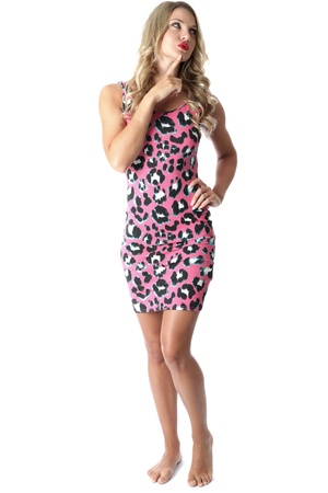 tight fitting: Model Released. Thoughtful Young Woman Wearing Pink Mini Dress