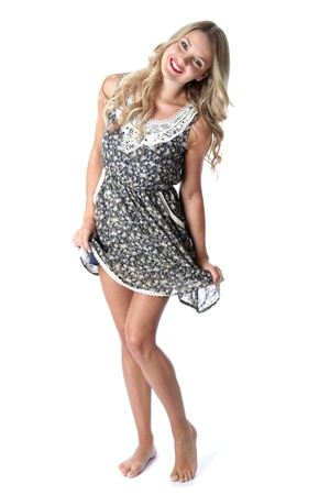 Model Released. Happy Young Woman Short Mini Dress photo