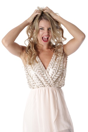 Model Released. Frightened Young Woman Wearing Sheer Flimsy Dress photo