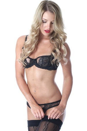 model released: Model Released. Young Woman Wearing Sexy Lingerie Stock Photo