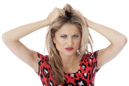 miserable: Model Released. Miserable Depressed Angry Young Woman Stock Photo