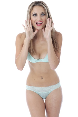 skimpy: Model Released. Sexy Young Woman Wearing Lingerie Shouting Stock Photo