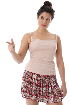Model Released. Attractive Unhappy Young Woman Pointing Stock Photo - 21482446