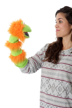 Model Released. Young Woman Holding a Glove Puppet photo