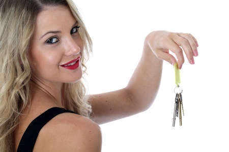 model released: Model Released. Young Woman Holding a Bunch of Keys Stock Photo