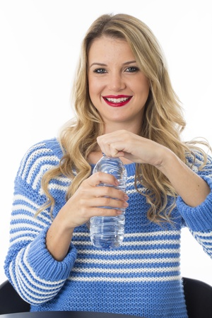 model released: Model Released. Attractive Young Woman Drinking Water Stock Photo