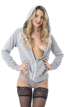 hoody: Model Released. Sexy Young Woman Wearing a Hoody and Stockings