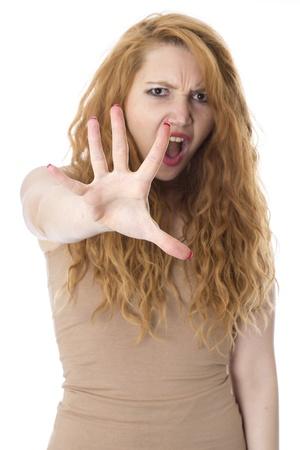 védekező: Model Released. Defensive Young Woman
